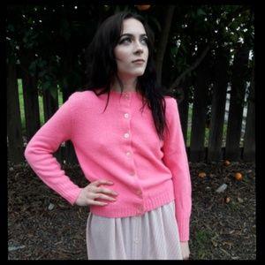 Fun vintage 60's neon pink cardigan sweater!